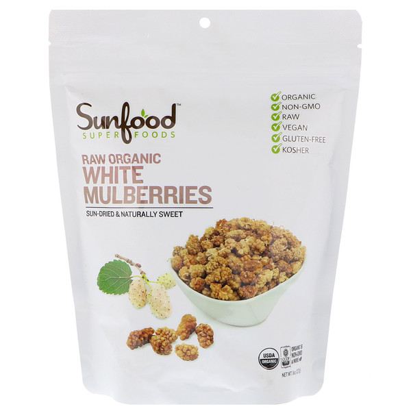 Sunfood, Raw Organic White Mulberries, 8 oz (227 g) (Discontinued Item)