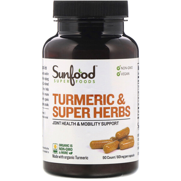 Sunfood, Turmeric & Super Herbs, 601 mg, 90 Count