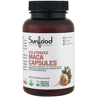Sunfood, Gelatinized Maca Capsules, 800 mg, 90 Capsules
