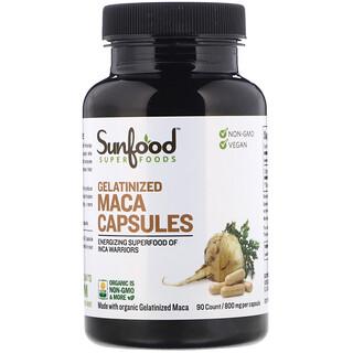 Sunfood, Cápsulas de Maca Gelatinizada, 800 mg, 90 Cápsulas
