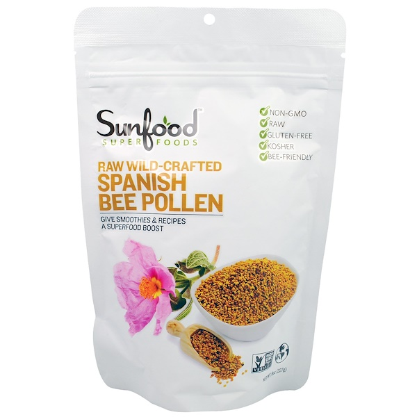 Raw Wild-Crafted Spanish Bee Pollen, 8 oz (227 g)