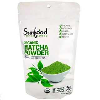 Sunfood, Organic Matcha Powder, Whole Leaf Green Tea, 4 oz (113 g)