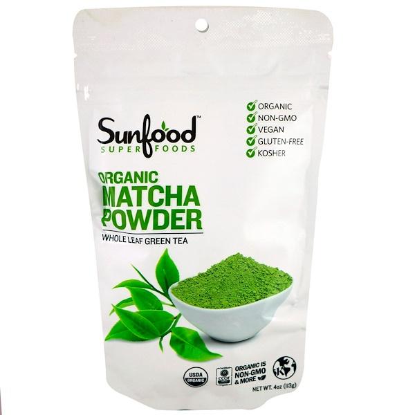 Sunfood, Organic Matcha Powder, Whole Leaf Green Tea, 4 oz (113 g) (Discontinued Item)