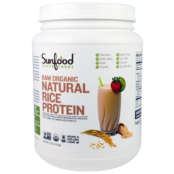 Sunfood, Raw Organic Natural Rice Protein, 2.5 lb (1.13 kg)