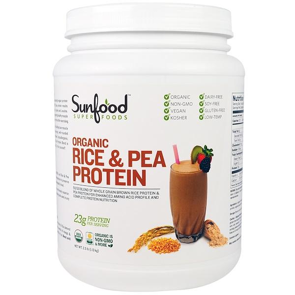 Sunfood, Organic Rice & Pea Protein, 2.5 lb (1.13 kg) (Discontinued Item)