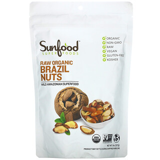 Sunfood, Nueces de Brasil orgánicas crudas, 227g (8oz)