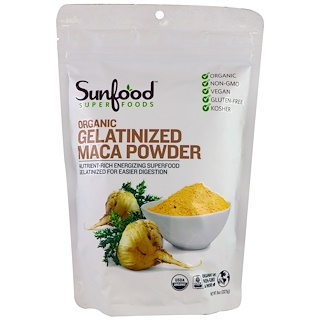 Sunfood, Organic Gelatinized Maca Powder, 8 oz (227 g)