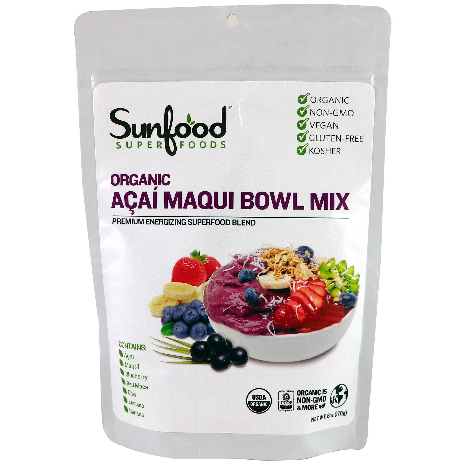 Sunfood, Органическая смесь с акаи и маки, 6 унций (170 г)