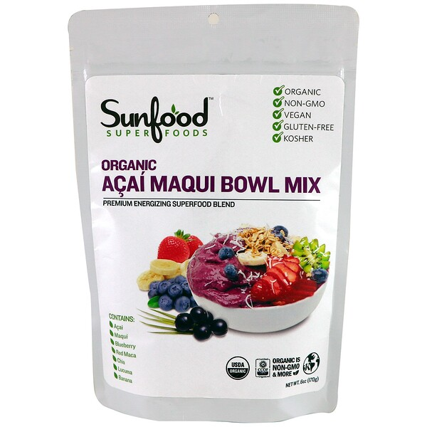 Sunfood, Organic Acai Maqui Bowl Mix, 6 oz (170 g)