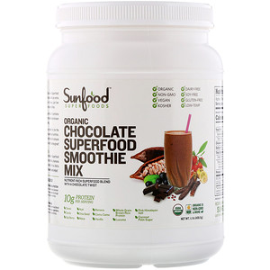 Sunfood, Organic Superfood Smoothie Mix, Chocolate, 1.1 lb (498.9 g)