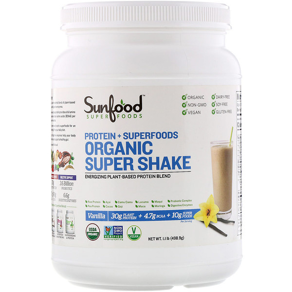 Sunfood, Protein + Superfoods, Organic Super Shake, Vanilla, 1.1 lb (498.9 g) (Discontinued Item)