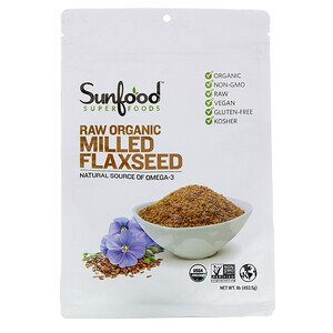 Sunfood, Raw Organic Milled Flaxseed, 1 lb (453.5 g)