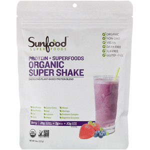 Sunfood, Protein + Superfoods, Organic Super Shake, Berry, 8 oz (227 g)