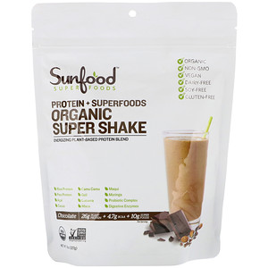 Sunfood, Protein + Superfoods, Organic Super Shake, Chocolate, 8 oz (227 g)'