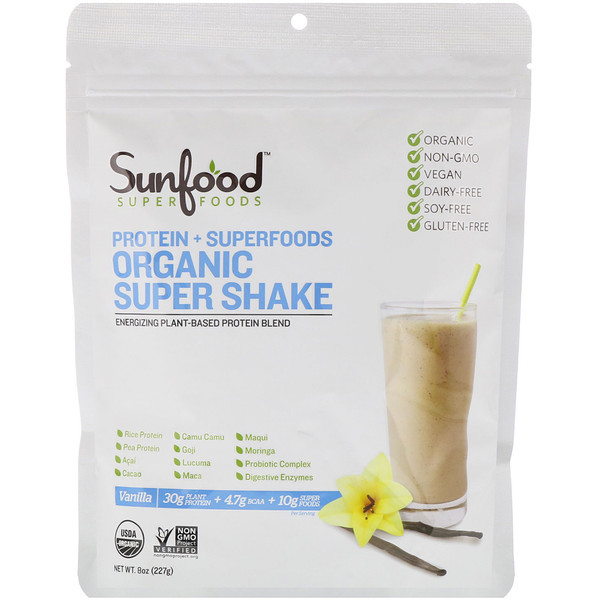 Sunfood, Protein + Superfoods, Organic Super Shake, Vanilla, 8 oz (227 g) (Discontinued Item)