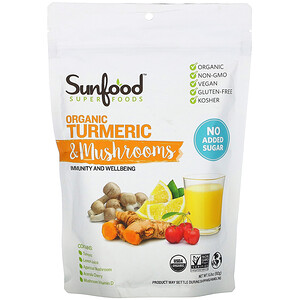 Sunfood, Superfoods, Organic Turmeric & Mushrooms, 6.8 oz (192 g)