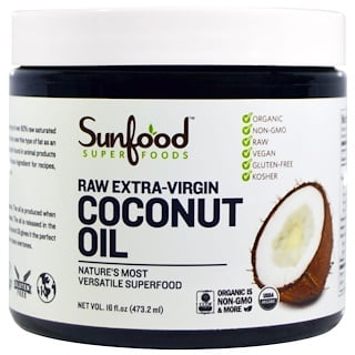 Sunfood, Coconut Oil, Raw Extra-Virgin, 16 fl oz (473.2 ml)