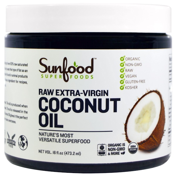 Sunfood, Coconut Oil, Raw Extra-Virgin, 16 fl oz (473.2 ml) (Discontinued Item)