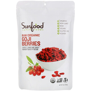 Sunfood, Raw Organic Goji Berries, 8 oz (227 g)