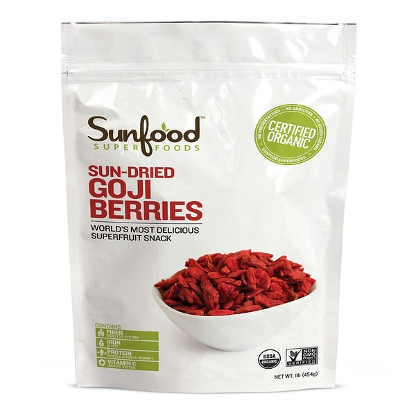 Sunfood, Organic, Sun-Dried Goji Berries, 1 lb (454 g)