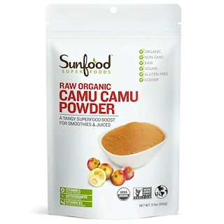 Sunfood, Raw Organic Camu Camu Powder, 3.5 oz (100 g)