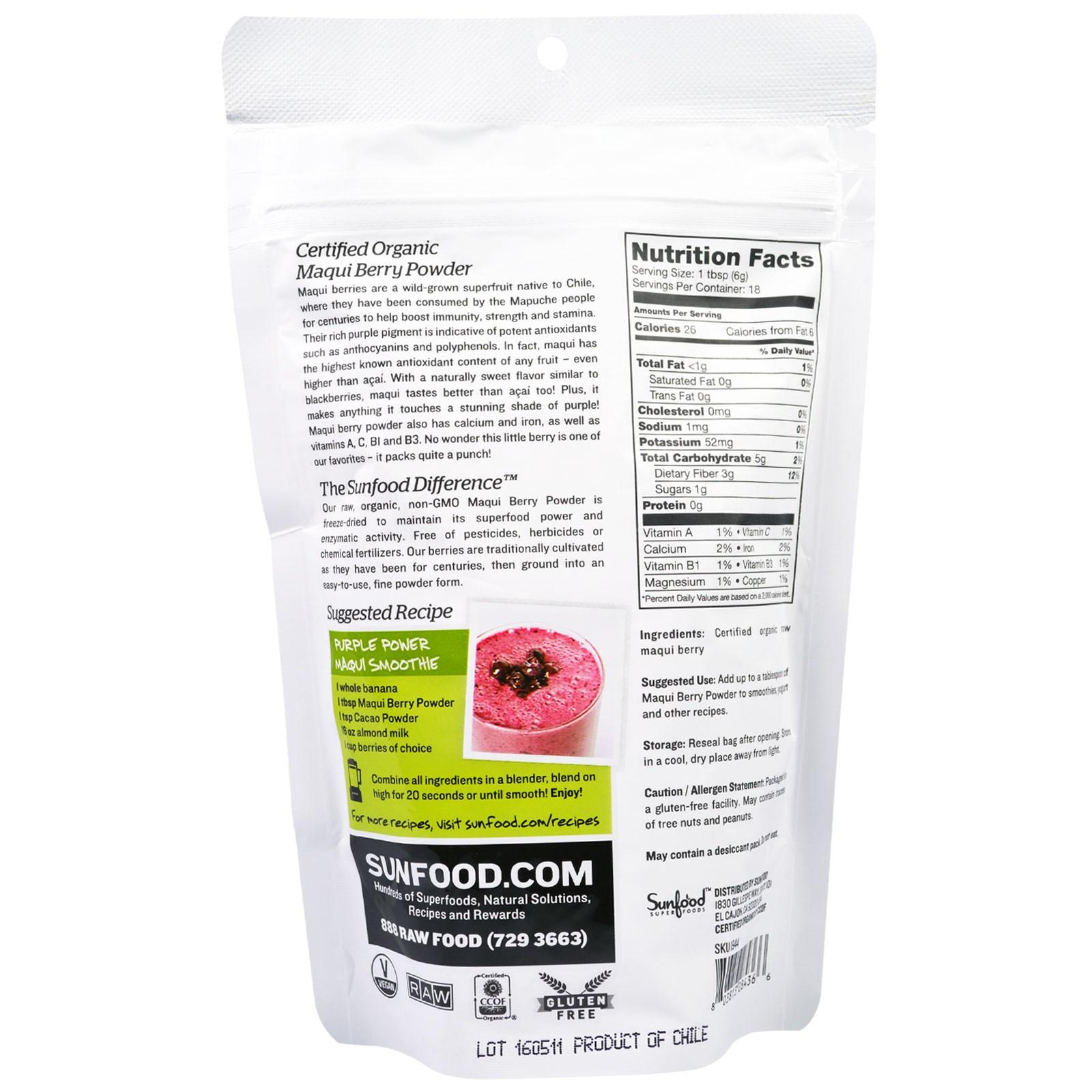 Sunfood Superfoods Raw Organic Maqui Berry Powder 4 Oz 113 G