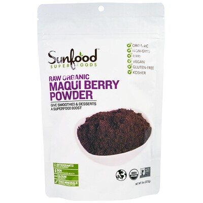 Купить Sunfood Superfoods, Raw Organic Maqui Berry Powder, 8 oz (227 g)