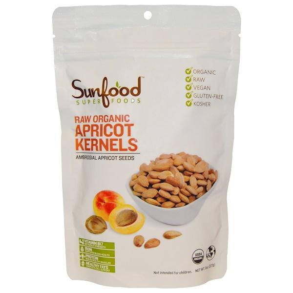 Sunfood, Raw Organic Apricot Kernels, Ambrosial Apricot Seeds, 8 oz (227g) (Discontinued Item)