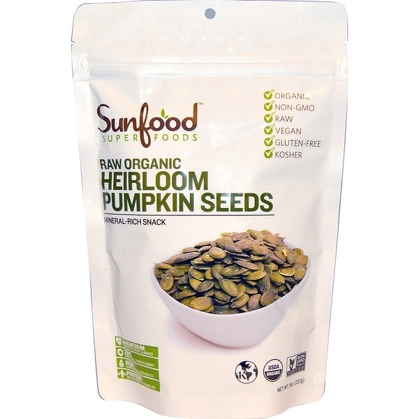 Raw Organic Heirloom Pumpkin Seeds, 8 oz (227 g)