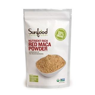 Sunfood, Pó de Maca Vermelha, Rico em Nutrientes, 1 lb (454g)