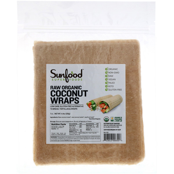 Sunfood, Raw Organic, Coconut Wraps, 7 Wraps, 4.4 oz (126 g)