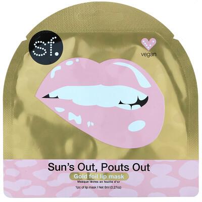 Купить SFGlow Sun's Out, Pouts Out, Gold Foil Lip Mask, 1 Sheet, 0.27 oz (8 ml)