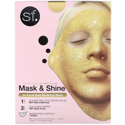 Купить SFGlow Mask & Shine, 24 Karat Gold Modeling Mask, 4 Piece Kit