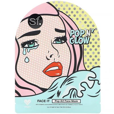 Купить SFGlow POP n' Glow, Face It, маска для лица с поп-артом, 1шт., 25мл (0, 85унции)