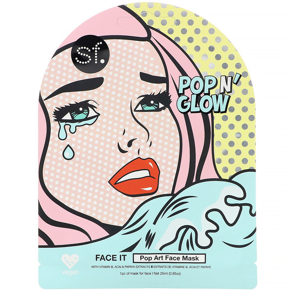 Brillo inmediato (POP n' Glow), Dar la cara, Mascarilla con estilo arte pop para el rostro, 1mascarilla, 25ml (0,85oz)