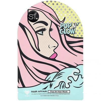 Купить SFGlow POP n' Glow, Hair Affair, Pop Art Hair Mask, 1 Sheet, 1.01 oz (30 ml)