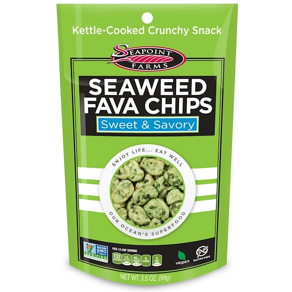 Seapoint Farms, Seaweed Fava Chips, Sweet & Savory, 3.5 oz (99 g) (Discontinued Item)