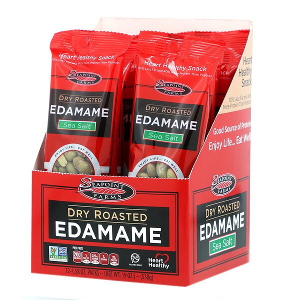Seapoint Farms, Dry Roasted Edamame, Sea Salt, 12 Packs, 1.58 oz (45 g) Each