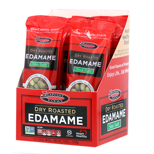 Dry Roasted Edamame, Sea Salt, 12 Packs, 1.58 oz (45 g) Each