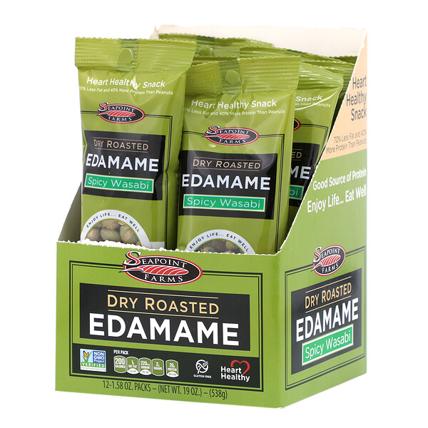 Seapoint Farms, Dry Roasted Edamame, Spicy Wasabi, 12 Packs, 1.58 oz (45 g) Each