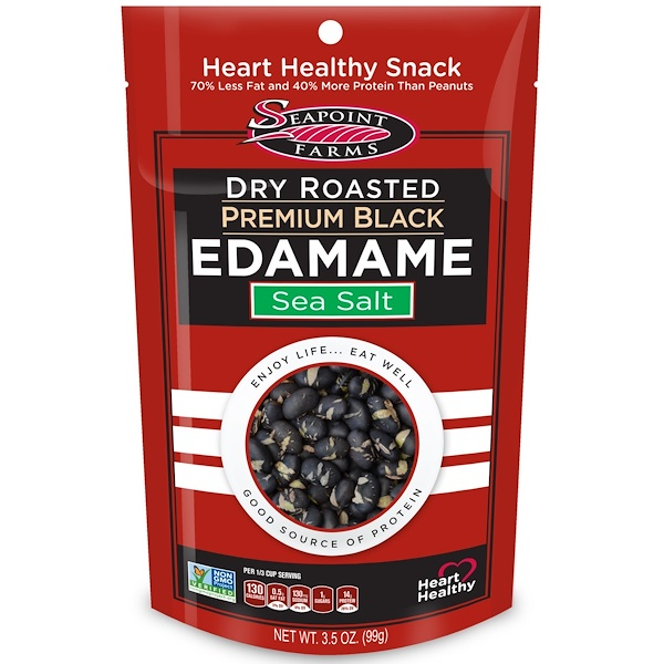 Seapoint Farms, Dry Roasted Premium Black Edamame, Sea Salt, 3.5 oz (99 g) (Discontinued Item)