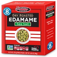 Сушеные обжаренные бобы эдамаме, морская соль, 8 пакетиков, 0,79 унции (22,5 г) каждый - фото