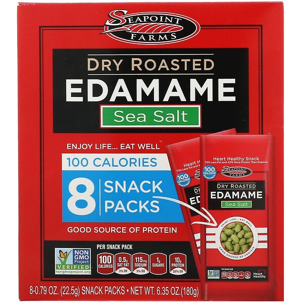 Seapoint Farms, Dry Roasted Edamame, Sea Salt, 8 Snack Packs, 0.79 oz (22.5 g) Each