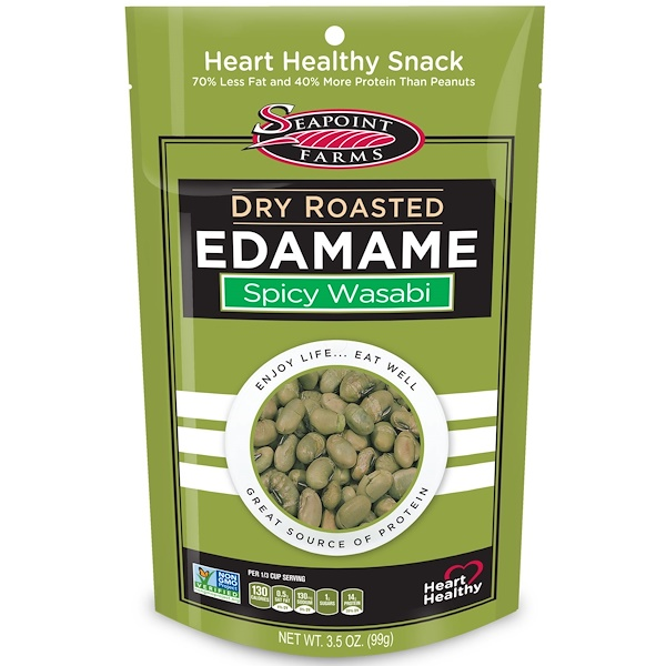 Seapoint Farms, Dry Roasted Edamame, Spicy Wasabi, 3.5 أوقية (99 جرام)