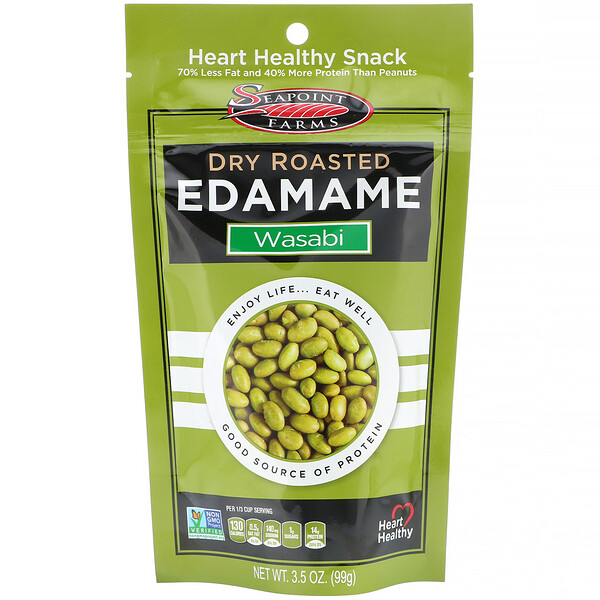 Seapoint Farms, Dry Roasted Edamame, Wasabi, 3.5 oz (99 g)