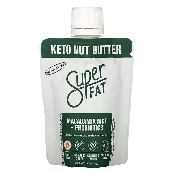 SuperFat, Keto Nut Butter, Macadamia MCT + Probiotics, 1.5 oz (42 g)