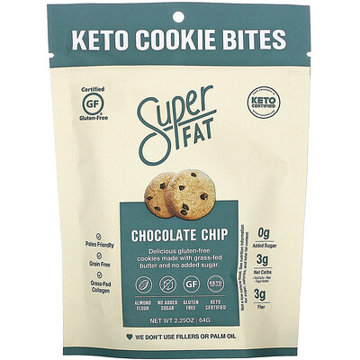 Купить SuperFat Keto Cookie Bites, Chocolate Chip, 3 Packs, 2.25 oz (64g) Each