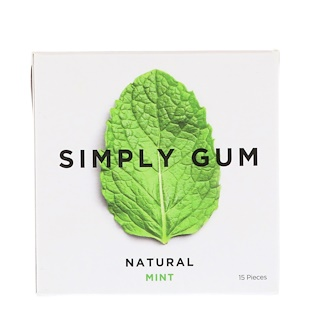 Simply Gum, Gum, Natural Mint, 15 Pieces