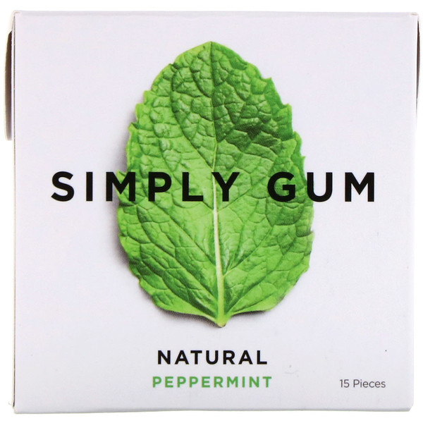 Simply Gum, Gum, Natural Peppermint, 15 Pieces