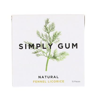 Simply Gum 口香糖,天然茴香甘草,15片